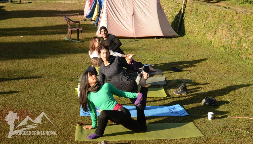yoga in the nepal mountain