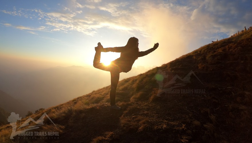 yoga in the nepal mountains