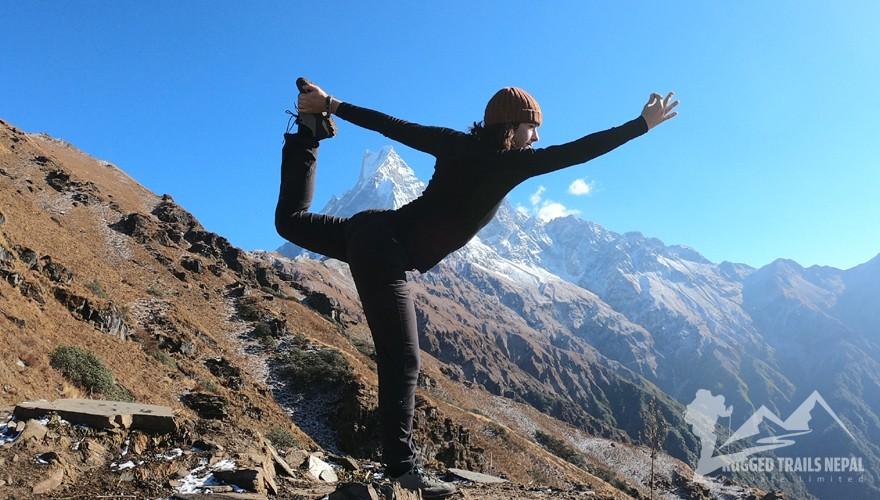 yoga trek in nepal mountains